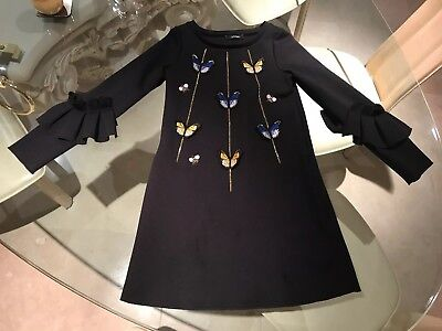 Monnalisa Girls Navy Dress With Butterfly Detail - Age 10 Years - Excellent Con