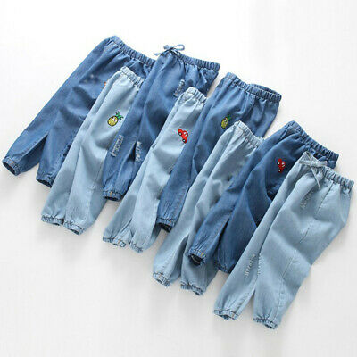 Kids Baby Boys Girls Cartoon Hole Denim Long Pants Elastic Waist Jeans Trousers