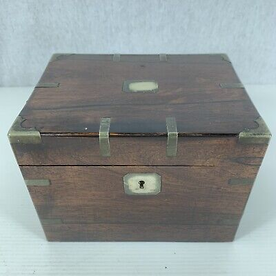 Fine Antique Rosewood Brass Bound Campaign Type Single Section Tea Caddy 19th C