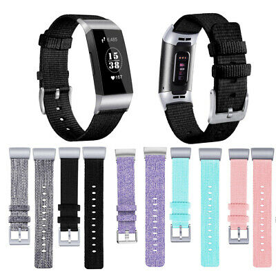 Woven Canvas Nylon Fabric Watch Band Replace Wristband Strap For Fitbit Charge 3