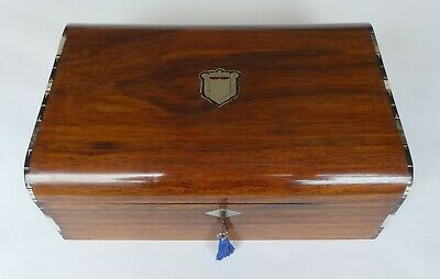 Large Rosewood Antique French Inlaid Sewing Box & Contents