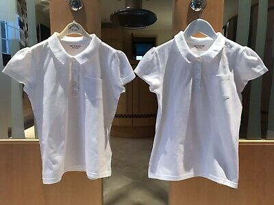 Girls Pack of Two White Polos UK 9-10 Years Excellent Condition