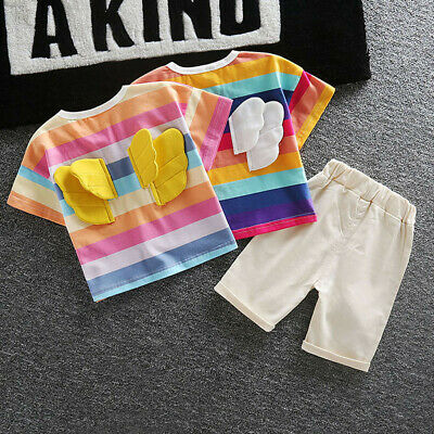 Toddler Baby Boy Girls Kids Rainbow Wing Summer Tops T-shirt Shorts Outfits Sets