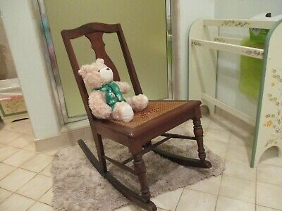 Antique/Vintage Mission Arts Mahogany Cain Rocking Chair ~