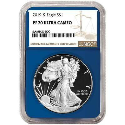 2019-S Proof $1 American Silver Eagle NGC PF70UC Brown Label Blue Core