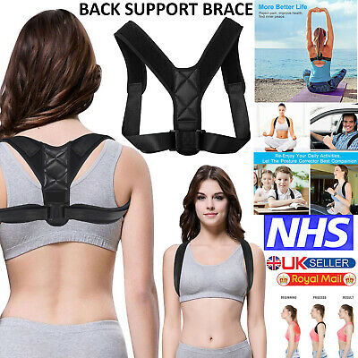 Adjustable Magnetic Back Shoulder Lumbar Support Posture Corrector Brace Belt UK