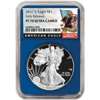 2019-S Proof $1 American Silver Eagle NGC PF70UC Black ER Label Blue Core