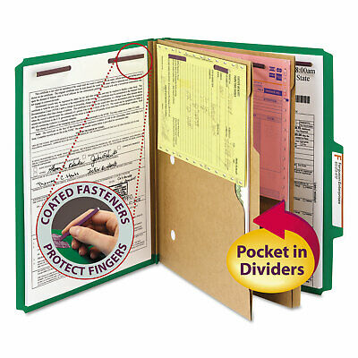 Smead Pressboard Folders with Two Pocket Dividers Letter Six-Section Green 10
