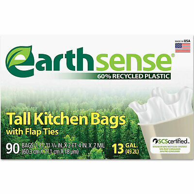 Earthsense Recycled Can Liners 13gal .7 Mil 23 3/4 x 28 White 90 Bags/Box