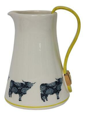 Dimpled Heart Ceramic Highland Cow Coo Jug Yellow Strap & Buckle Handle Detail
