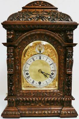Antique Carved Oak 3 Train 5 Gong Musical Westminster Chime W&H Bracket Clock