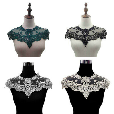 Floral Lace Mesh Embroidery Neckline Collar Embellishment Sewing Applique Trim