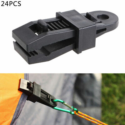 24 Heavy Duty Camping Tarpaulin Eyelet Clips Non-Piercing Tent Tie Down Cover Uk