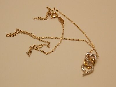 Gold Overlay Sterling Silver Necklace ~ Heart Pendant w/ Diamond Chip