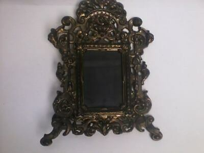 """Antique Ornate Bronze Over Metal Easel Picture Frame 7"""" X 9"""" Roses & Faces"""