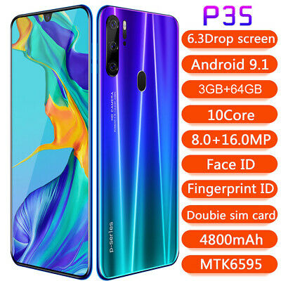 """P35 Pro SmartPhone 6.3"""" HD Full Screen 4800mAh Android 9.1 Face ID Cell Phone"""