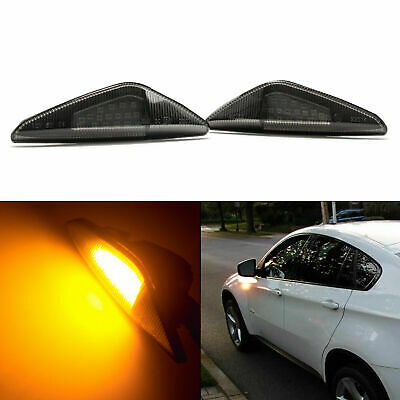 Smoked Lens Amber LED Fender Side Marker Light Assembly Set For BMW X3 X5 X6