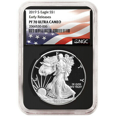 2019-S Proof $1 American Silver Eagle NGC PF70UC Flag ER Label Retro Core