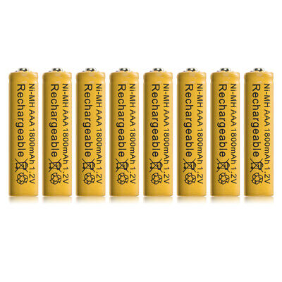 8pcs Ni-MH AAA 1800mah 1.2V Rechargeable Batteries Battery Nickel Hydride RC1034