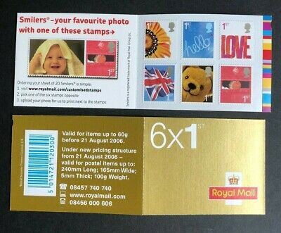 2005 QA1 - 6 x 1st class Love/Greetings barcode booklet. Mint never hinged.