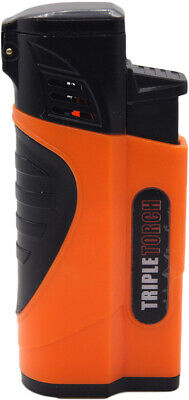 Triple Jet Torch Lighter Butane Refillable Windproof Flame w/ Cigar Puncher 432S