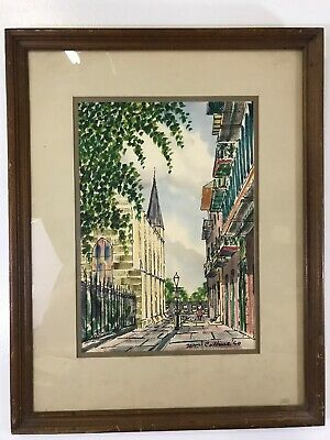 William Collins  Artist Original Watercolor of New Orleans Street Dated 1960 (d)