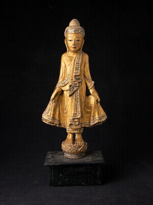 Antique wooden Mandalay Buddha statue from Myanmar - 19th century