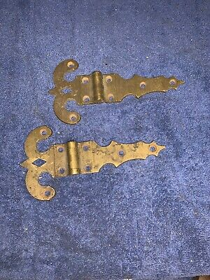 Vintage Solid Brass Ornate Hinges Gothic Look