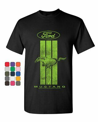 Ford Mustang Green Stripe T-Shirt Classic American Muscle Car Mens