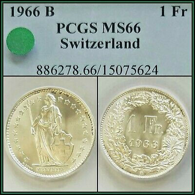 1966-B Silver Switzerland 1 Franc PCGS MS66 Gem BU Unc Uncirculated Swiss Coin