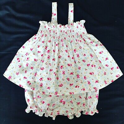 Toddler Girls Pink Ditsy Floral Bloomers Set Handmade Size 1-2 Years