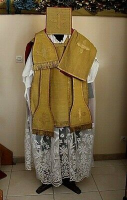 Chasuble Priest Roman in Sheet D' Gold Complete 19th Century
