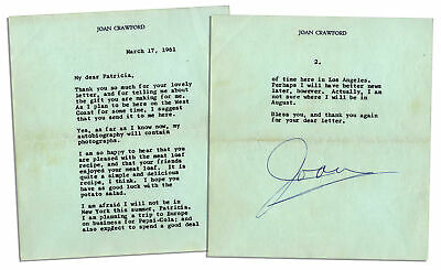 Joan Crawford Typed Letter Signed re her Pepsi Job