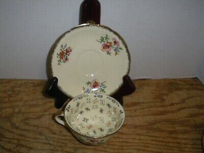 Vintage Meakin Royal Marigold Cup of Knowledge Fortune Teller Cup & Saucer Gold