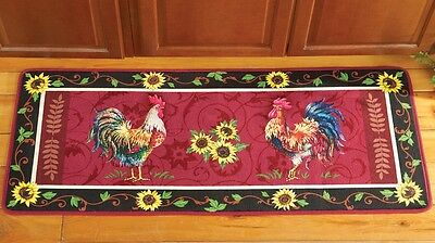 French Country Rooster Sunflower Kitchen Cushioned Floor