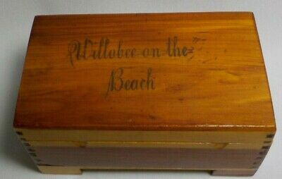 VTG Small CEDAR Wood CHEST JEWELRY Trinket Box WILLOBEE ON THE BEACH DOVE TAILED