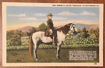Gen Robert E Lee On Horse Traveler, Gettysburg PA, Confederate Soldier Postcard