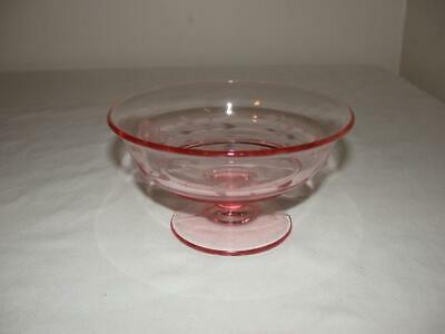 Pink Depression Glass Small Footed Candy Dish With Etched Flower & Leaves