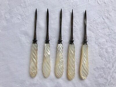 Antique 1880s Twist Carved Mother of Pearl Handle Silver Plate Nut Pick Utensils