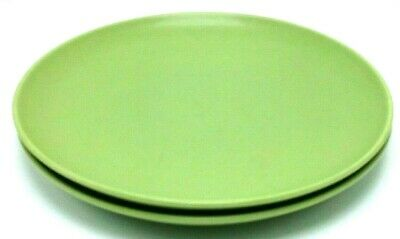 "Set of 2 Hoganas Keramik Nilsson Green 10.25"" Stoneware Dinner Plates Sweden"