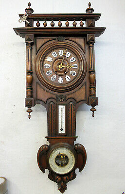 Antique Big Wall Clock French Clock Walnut HENRY II 1880Th century +Barometer