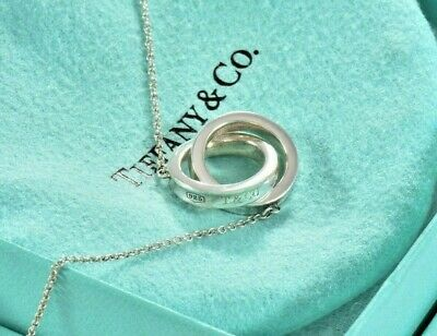 "Tiffany & Co Sterling Silver 1837 Interlocking Circles 16"" Necklace w/ Pouch"