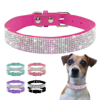 Rhinestones Leather Dog Necklace Collar Pink Chihuahua Small Dogs Cats Collar
