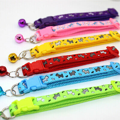 Nylon Cat Dog Pet Adjustable With Bell Collar Dot Printing Buckle Puppy Safety