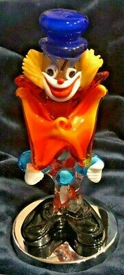 Terrifying Murano Glass Clown.  Vintage.  Mint Condition. Made In Italy.