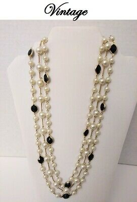 🌹 Beautiful Vintage Antique 3 Strand Beaded Pearl Black and Gold Necklace
