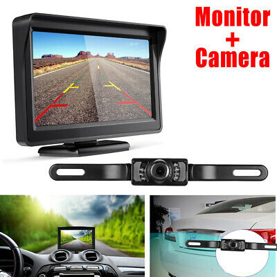 """4.3"""" Car TFT LCD Monitor Stand+CCD Reverse Rear View Backup Camera License Plate"""