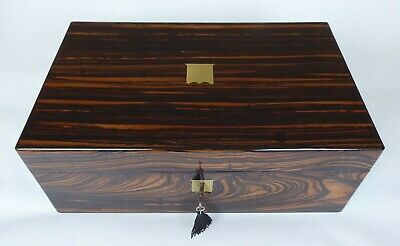 Antique Coromandel Writing Slope, Working Lock, New Leather & Inkwells