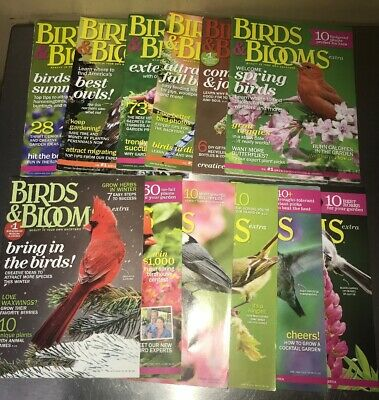 2014 BIRDS AND BLOOMS Magazine Extra Lot of 12 Issues Homeschool Art