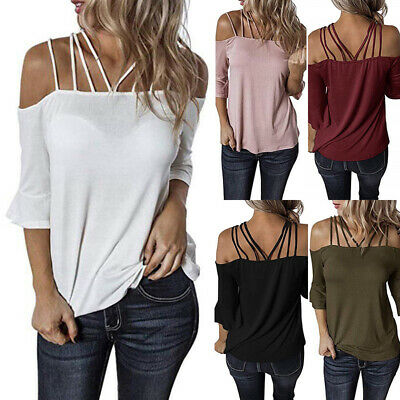 Plus Size Womens Summer Off Shoulder Tee Top Blouse Ladies Casual Tops T-Shirt